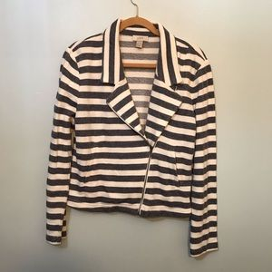 LOFT Navy and White Striped Zipper Blazer Size M